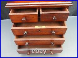 Antique wooden apprentice miniature chest of drawers collectors jewellery box