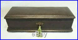 Antique wooden box with key antique French jewellery box LARGE leather glove box