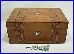 Antique wooden box with key antique jewellery box inlay banding MOP