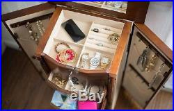 Armoire Jewelry Box Storage Cabinet Organizer Drawers Necklace Watch Wood Stand
