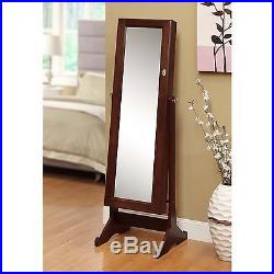 Armoire Jewelry Cabinet Box Organizer Ring Wood Necklace Storage Mirror Stand