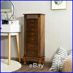 Armoire Jewelry Cabinet Box Storage Wooden Organizer 7 Open Drawers 2 Side Doors
