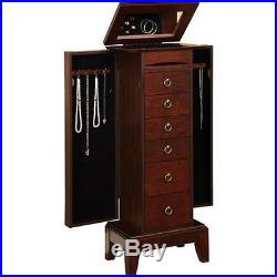 Armoire Jewelry Cabinet Organizer Storage Box Chest Stand Necklace Rings Mirror