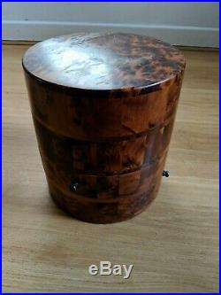 Art Deco Wooden 3 Draw Jewellery Storage Cylindrical Box Solid Wood