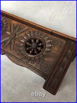 Arts & Crafts Style Carved Pierced Wooden Jewellery Casket Rectangular Box