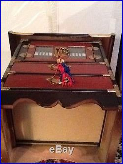 Asian Chinese Style Wooden And Brass Jewelry Storage Box With Doors And 2 Drawe