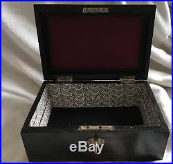 Atractive Coromandel Victorian Sewing Jewellery Box With Key And Working Lock