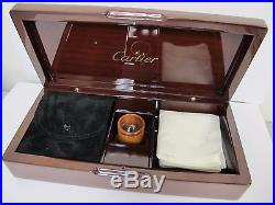 Authentic Cartier Wood Jewelry Box Case Brown With Accessories