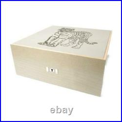 Authentic HERMES Wooden jewelry box case Tiger print Wood Gray SHW Used