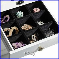 B-AIMS Extra Large Wooden White Brown Jewellery Storage Boxes Ring Earring Case