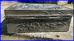 Beautiful Antique Vintage Silver Metal Trinket Box With Wooden Lining