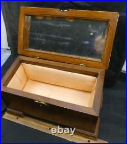 Beautiful Antique Wooden Inlaid Jewelry Dresser Mirrored Box with Key