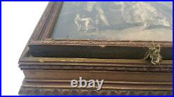 Beautiful Antique Wooden Jewelry Box Neoclassic Picture Mirror Dividers Intact