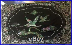 Beautiful Asian Mother of Pearl high lacquer black jewelry wood chest with drawers