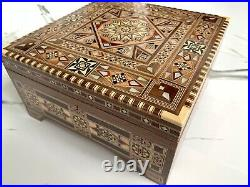 Beautiful Jewelry Mosaic Wooden Handmade Box. 9.8 x 9.8 Inches Approx
