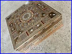Beautiful Jewelry Mosaic Wooden Handmade Box. 9.9 x 9.9 Inches Approx