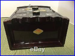 Beautiful RARE Wooden Mother of Pearl Black Lacquer Standing Jewelry Box Armoir