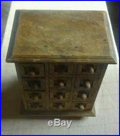 Beautiful Vintage Small Table Top Wooden Trinket Jewellery Box Chest 12 Draws