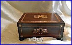Beautiful William IV Rosewood Inlaid Sewing Jewellery Box With Key