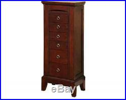 Bedroom Jewelry Cabinet Box Storage Chest Stand Organizer Necklace Wood