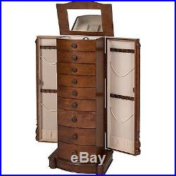 Best Choice Products Armoire Jewelry Cabinet Box Storage Chest Necklace Wood Wal