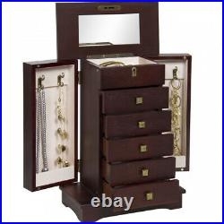 Best Choice Products Handcrafted Wooden Jewellery Box Organiser Wood Armoire