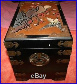 Big Vintage Japanese Wooden Brass Hinges Cherry Blossom Jewelry Box Chest