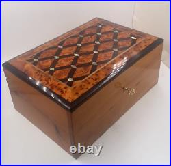 Big Wooden Jewelry Box Inlaid With Mother Of Pearl, Large Decorative Storage Box