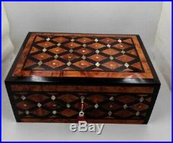 Big Wooden Jewelry Box Made Of Thuya Wood Inlaid With Mother-Of-Pearl, Lock Box