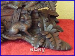 Black Forest 16 Desk Box Jewelry Carved Wooden Dog Rabbit Figures Nature c1900