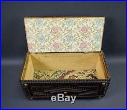 Black Forest Folk Art Tramp Art Wood Hinged Jewelry Box Chip Carved Wooden Box
