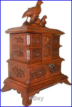 Black Forest / Swiss Brienz hand carved wooden jewelry box with partridge