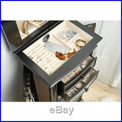 Black Jewelry Armoire Organizer Chest Wood Necklace Case Stand Ring Mirror Tall