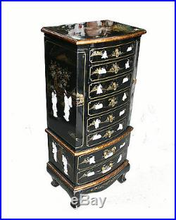 Black Lacquer Wooden Jewelry Cabinet Model 10369-BK