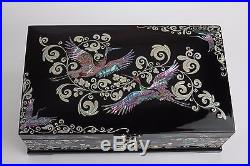 Black Mother of Pearl Lacquer Wooden Jewelry Trinket Treasure Chest Box Nacre