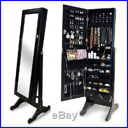 Black Wood Full Length Mirror Jewelry Armoire Cabinet Storage Floor Standing