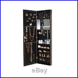 Brown Mirrored Jewelry Cabinet Armoire Storage Chest Rings Stand Wall Door Mount