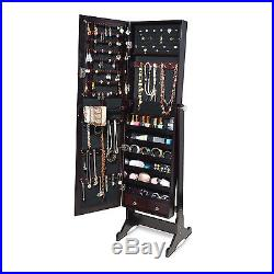 Brown Mirrored Jewelry Chest Armoire Cabinet Free Standing with Lock Rings Wood