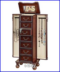 Brown Standing Jewelry Armoire Mirror Cabinet Ring Box Home Storage Organizer