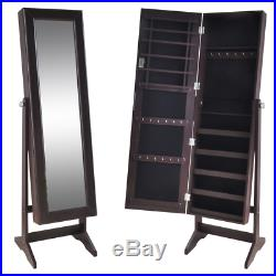 Brown Wooden Mirrored Free Standing Jewelry Chest Armoire Cabinet Box with Lock