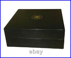 Chanel Black Wooden Luxury/Gift/Jewelry Box with Suede Inside 7 x 7 x 3