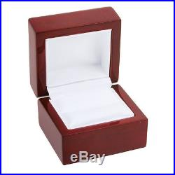 Cherry Rosewood Solid Wood Ring Jewelry Box Display Your Engagement Diamond New