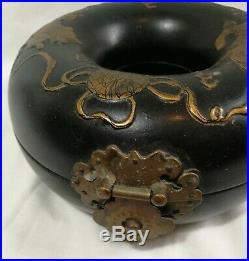 China Qing Dynasty wooden jewellery box handpainted +brass very special design