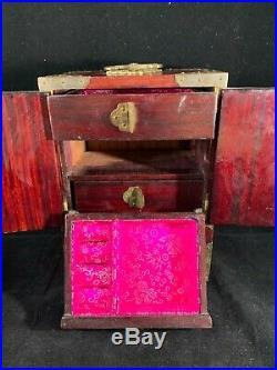 Chinese Vintage Antique Wooden Jewelry Case With Jade Decor and Storage Box