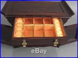 Chinese Wooden Jewelry Chest Box with Drawers & Brass Hardware