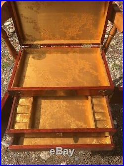 Chinese Wooden Vintage Jewellery Box With Brass Detail 2 draws good Size