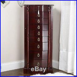 Classic Cherry Jewelry Armoire Mirrored Cabinet Necklace Box Modern Organizer
