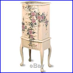 Classic Romantic Hand Painted Floral Off White Finish Jewelry Armoire with Drawers