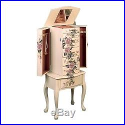Coaster Hand Painted Rose Pattern Jewelry Armoire Armoires in White