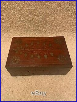 Custom Handmade Inlaid Wooden Jewelry Box Vintage Old Brass Wood Organizer Small